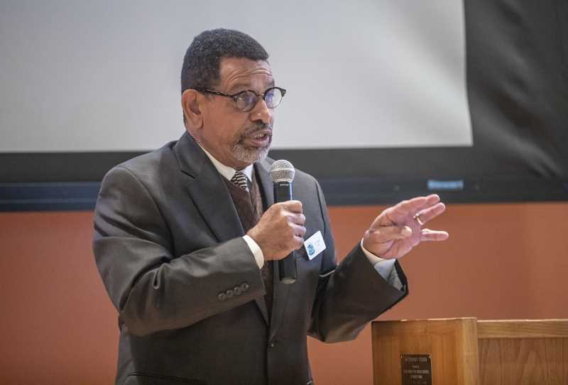 PMG PHOTO: JONATHAN HOUSE - King City Mayor Ken Gibson was one of the featured speakers at Mondays observence of Martin Luther King Jr. Day held at the Tigard Public Library. Gibson spoke of the challenges his father faced while living in a segregated Mississippi and how he wanted something different for his family.