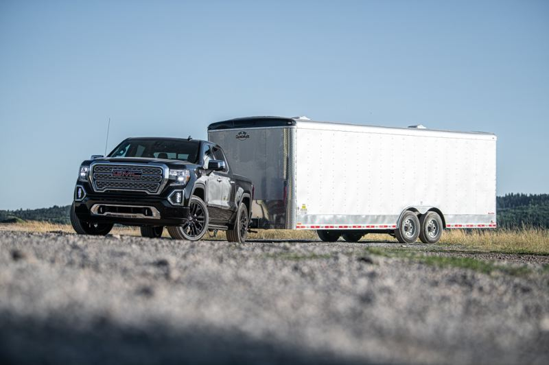 COURTESY GMC - A 2020 GMC Sierra Denali and a large trailer that would benefit from the new technology.