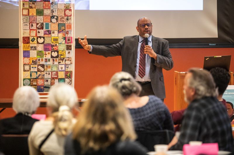 PMG PHOTO: JONATHAN HOUSE - Rivergrove Mayor Walt Williams speaks at the Jan. 20 program at the Tigard Public Library.