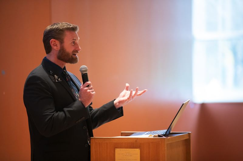 PMG PHOTO: JONATHAN HOUSE - Chris Ragland gives opening remarks at the MLK 2020 Healing the Divide event at the Tigard Library.