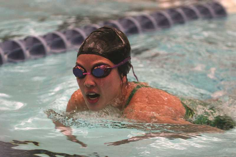 PMG FILE PHOTO: PHIL HAWKINS - North Marion's Kailee Jones is among 10 seniors who will be recognized at the Huskies lone home meet of the season — Thursday, Jan. 21 at the Woodburn Aquatic Center.