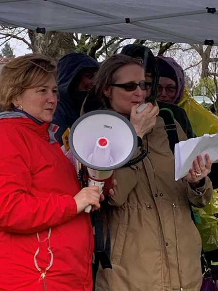 COURTESY PHOTO - SEIU Local 49 President Meg Niemi joins Stephanie Shufelt, contract bargaining team member and Emergency Department registrar at Providence Milwaukie Hospital, at a rally this month.