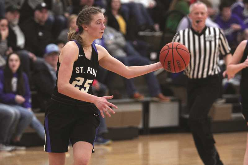 PMG PHOTO: PHIL HAWKINS - The St. Paul girls basketball team is undefeated and ranked No. 2 in Class 1A, looking ahead to a matchup with No. 1 Crane.