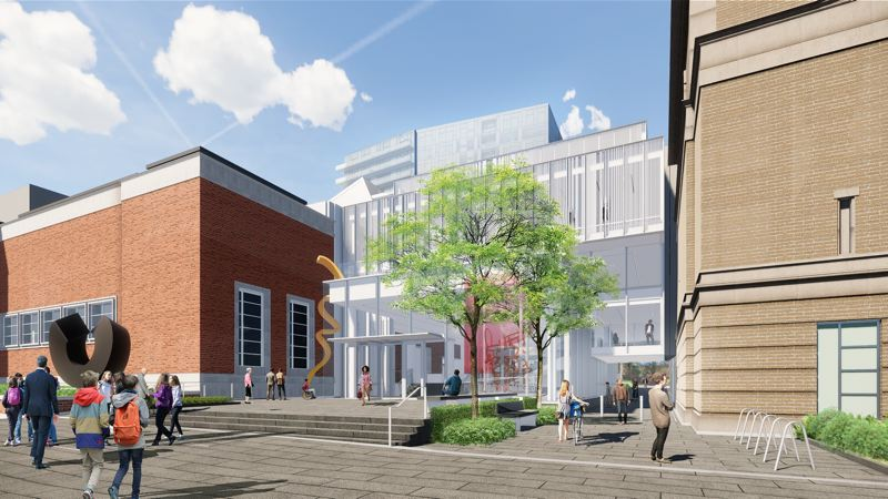 COURTESY: PORTLAND ART MUSEUM  - The future Rothko Pavilion, for which $5 million of Arlene Schnitzer's $10 gift is earmarked. Design is by Portland's Hennebery Eddy Architects and Chicago-based Vinci Hamp Architects. Note the city-mandated easement that allows bikes and pedestrians to pass through the space.