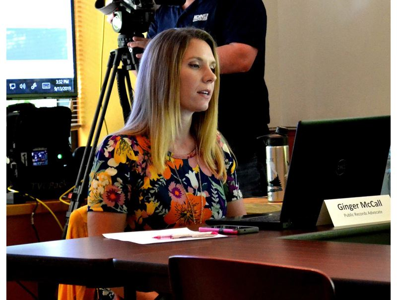 PMG FILE PHOTO - Oregon's Public Records Advocate Ginger McCall led a  Sept. 13  meeting of the state Public Records Council. McCall resigned Sept. 9, citing pressure from the governor's office.