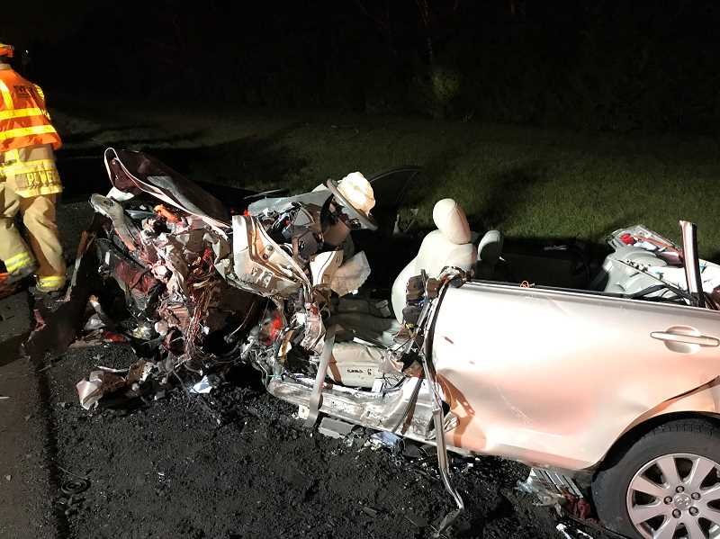COURTESY OF THE CLACKAMAS COUNTY SHERIFFS OFFICE - A two-vehicle crash just after midnight Wednesday resulted in one fatality and the closure of Highway 551 north of Aurora.