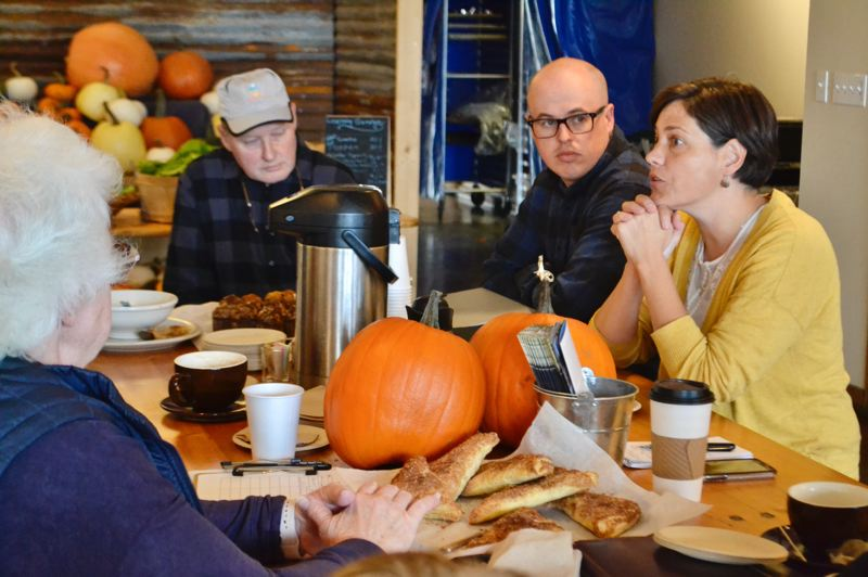 PMG FILE PHOTO: BRITTANY ALLEN - Rep. Anna Williams speaks with Sandy constituents at AntFarm Cafe in October 2019.