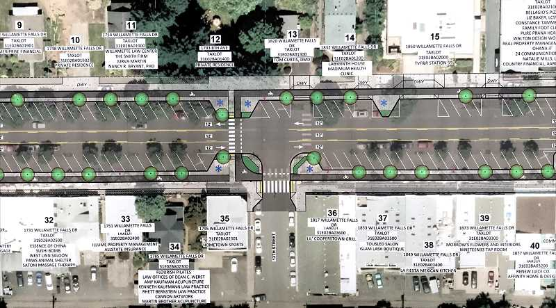 COURTESY PHOTO: CITY OF WEST LINN  - Once the project is completed, main street will include wider sidewalks,