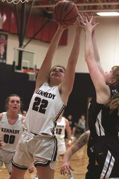 PMG PHOTO: PHIL HAWKINS - Kennedy junior Ellie Cantu scored 16 points and was one of three players in double figures for the Trojans.