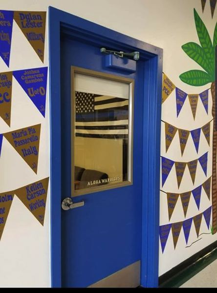 SUBMITTED PHOTO - A Thin Blue Line or Blue Lives Matter flag is spotted in the school resource officers office at Aloha High School in 2019. The flag has since been removed.