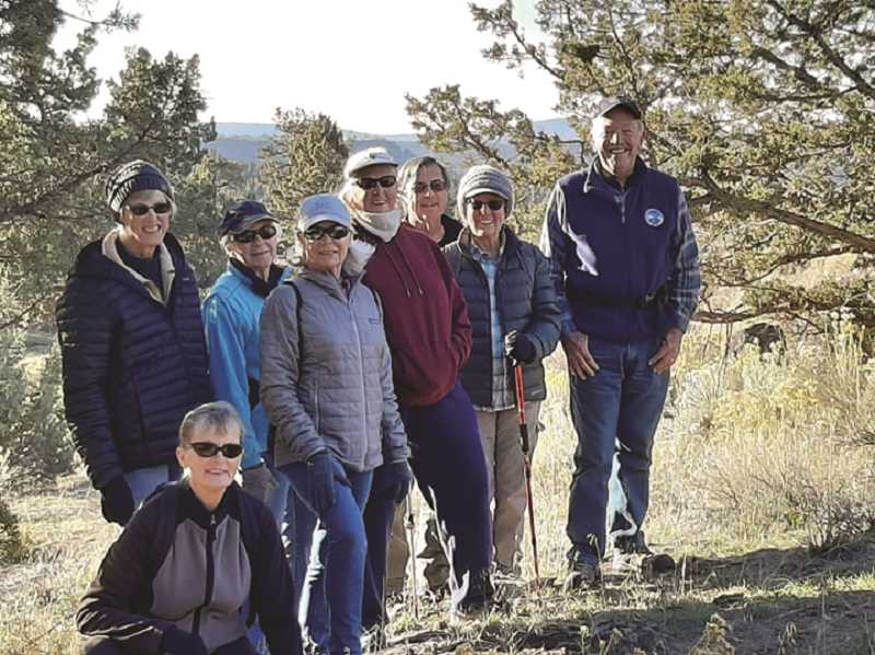 PHOTO SUBMITTED BY STANLEY FLYNN - Stanley Flynn, far right, is with his group, the Rimrock Hikers. Flynn works through Crook County Parks and Recreation, and serves as a guide for the hikers, who meet every Thursday for a hike.