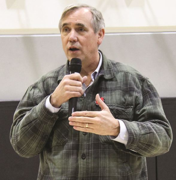 PMG FILE PHOTO - U.S. Sen. Jeff Merkley addresss a crowd of about 150 in Central Oregon.