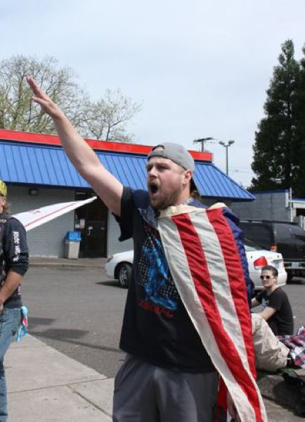 PMG FILE PHOTO - Jeremy Christian at a protest shortly befoer the MAX killings.
