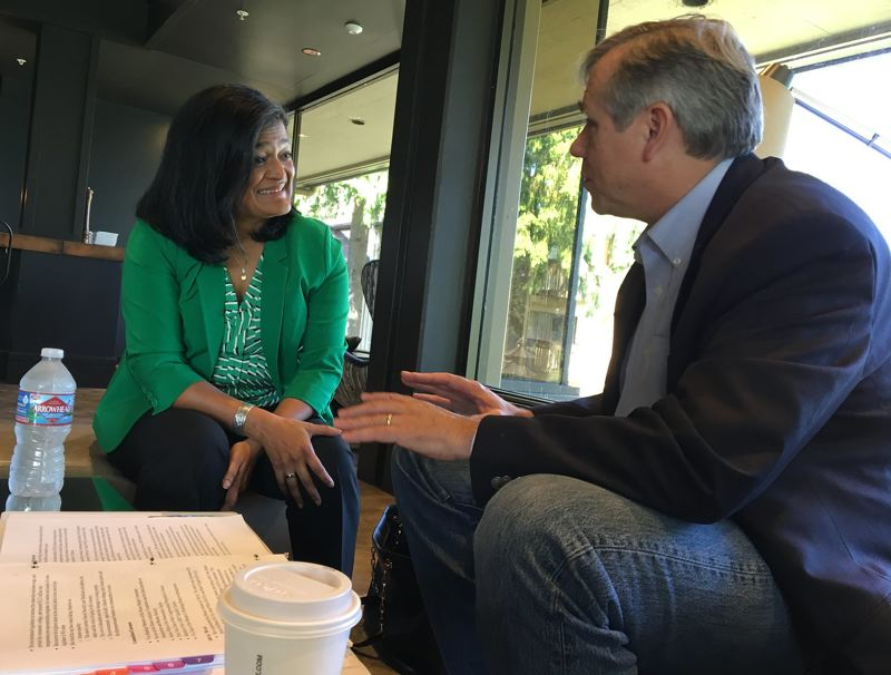 COURTESY PHOTO: U.S. SEN. JEFF MERKLEY - Oregon U.S. Sen. Jeff Merkley talks with Washington U.S. Rep. Pramila Jayapal. Merkley told Oregon reporters that the Senate is on trial in President Trump's impeachment debate.