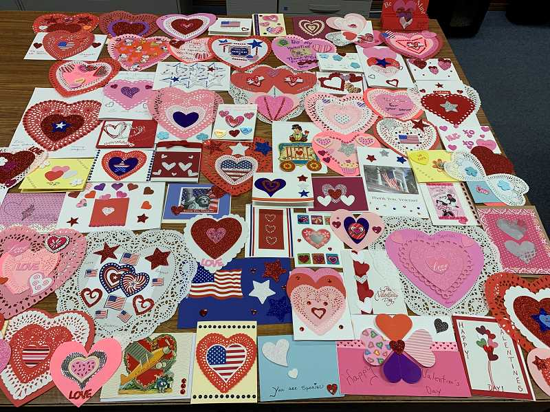 PHOTO COURTESY COLUMBIA COUNTY RSVP - Just a small sampling of the more than 300 valentines created during Columbia County RSVPs sixth annual Valentines for Vets event held on Martin Luther King Jr. Day, a National Day of Service.