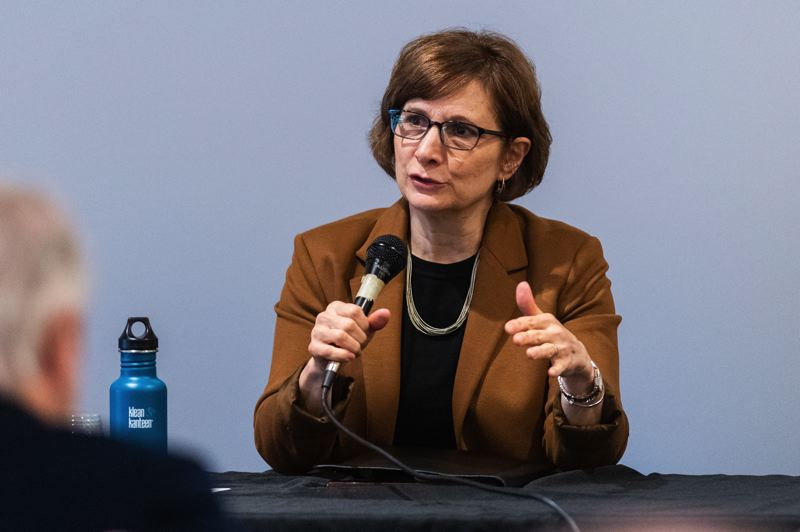 PMG PHOTO: CHRISTOPHER OERTELL - Congresswoman Suzanne Bonamici spoke during a rural broadband discussion at the Ridgewalker Event Center in Forest Grove on Thursday, Jan. 23.