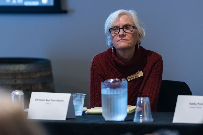 PMG PHOTO: CHRISTOPHER OERTELL - State Rep. Pam Marsh of Ashland during a rural broadband discussion at the Ridgewalker Event Center in Forest Grove on Thursday, Jan. 23.