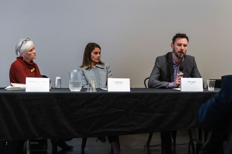 PMG PHOTO: CHRISTOPHER OERTELL - State Rep. Pam Marsh of Ashland, Kathy Putt, government affairs manager for Crown Castle, and Alex Leupp, government affairs director for Verizon, spoke during a rural broadband discussion at the Ridgewalker Event Center in Forest Grove on Thursday, Jan. 23.