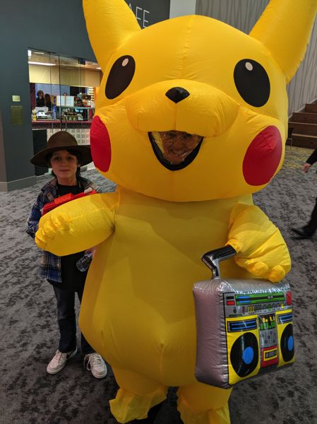 "One guest came outfitted as Pikachu, which is a Pokémon. Wikipedia insists on referring to Pokémon as ""fictional creatures,"" just in case anyone's confused."