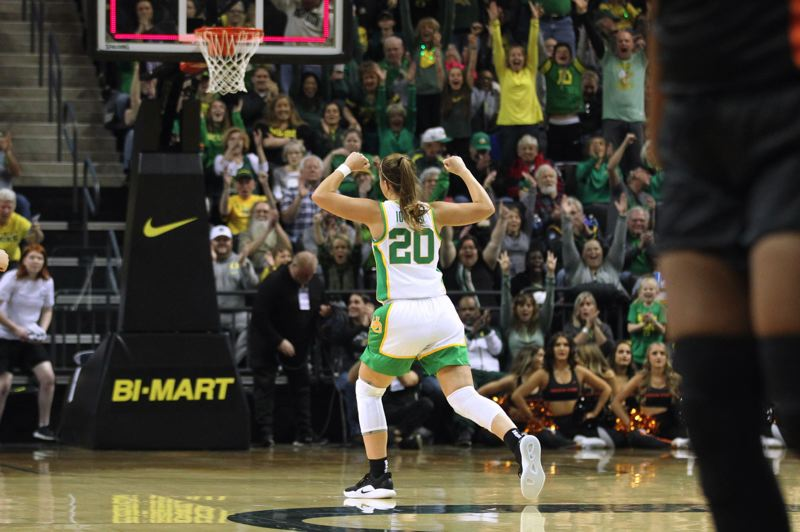 PMG PHOTO: JAIME VALDEZ - Sabrina Ionescu of Oregon celebrates after hitting a 3-pointer at the end of the first quarter.