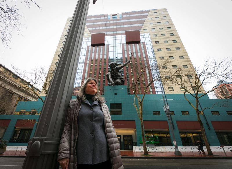 PMG PHOTO: JAIME VALDEZ  - Architect Carla Weinheimer of DLR Group in front of the Portland Building, which reopens March 19 after a $195 million remodel. Weinheimer says the designers, the city and the contractor collaborated ably on the project.