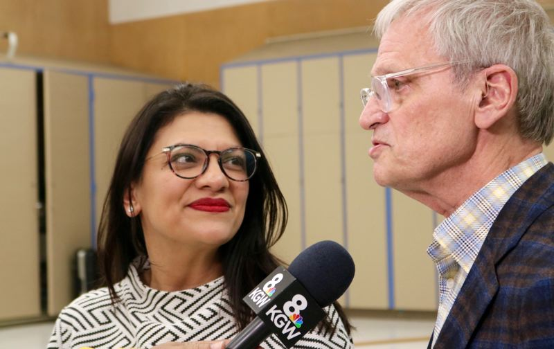 PMG PHOTO: ZANE SPARLING - Reps. Rashida Tlaib, D-Detroit, and Earl Blumenauer, D-Portland, spoke with the media after meeting focused on housing policy on Saturday in Portland.