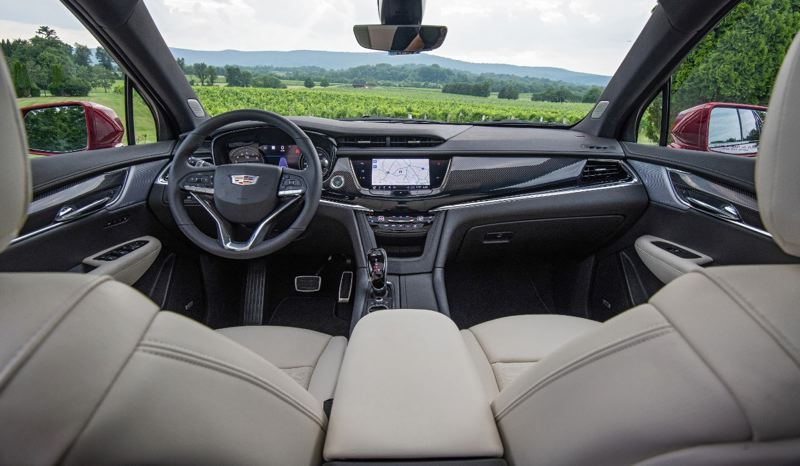 COURTESY CADILLAC - The interior of the 2020 Cadillac XT6 is luxurious but restrained, with carbon fiber trim in the Sport AWD model.