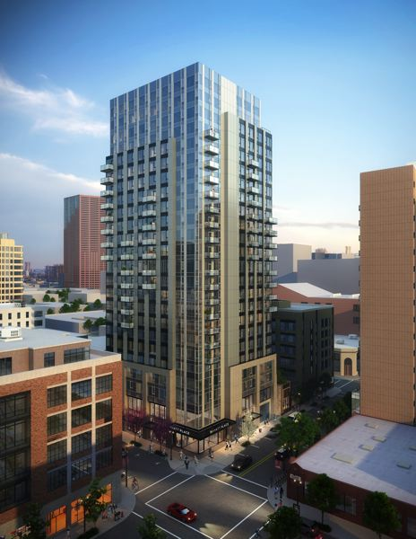 COURTESY: OTAK - The Hyatt Place hotel and Lawson Residences will the one of the first projects in the Pearl District to be designed and built under Portlands Central City 2035 guidelines. The hotel will take up the first 11 floors of the building, while market-rate and affordable housing will fill the upper 12 stories.