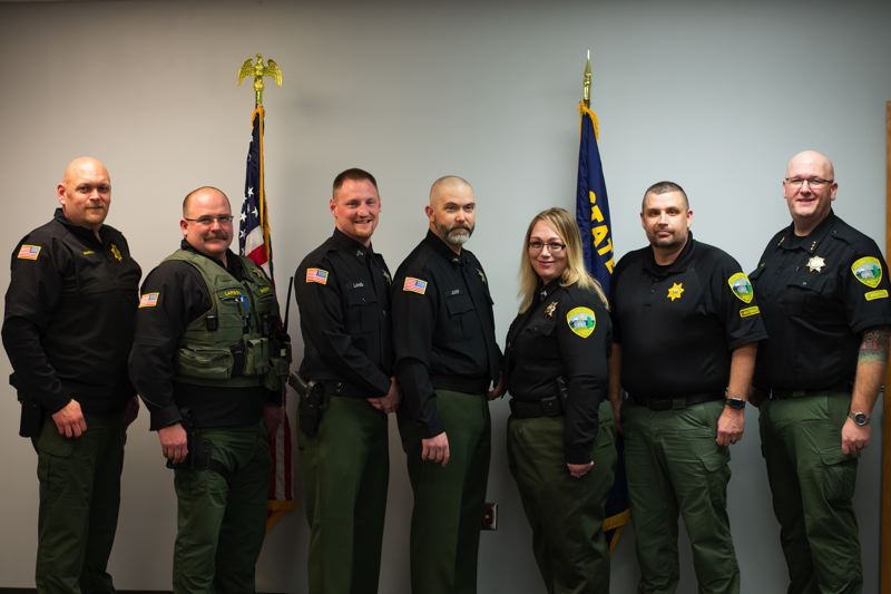 PMG PHOTO: ANNA DEL SAVIO - From left: Chief Deputy Ryan Murphy, Deputy Ron Larson, Cpl. Boyd Lang, Cpl. Justen Jump, Cpl. Sophie Frasier, Lt. Brooke McDowell and Sheriff Brian Pixley.
