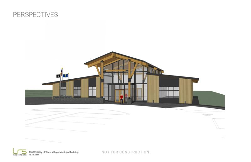 COURTESY PHOTO: CITY OF WOOD VILLAGE - This rendering shows roughly what the exterior of the new, 10,000-square-foot Wood Village City Hall will look like when its completed later this year or in early 2021.