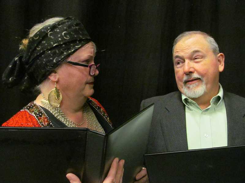 PHOTO BY DICK TRTEK - Bea (Elisabeth Goebel) and Curt (Ron K. Palmblad) read through a new script by a budding playwright in New Century Players' production of 'Don't Talk to the Actors.'