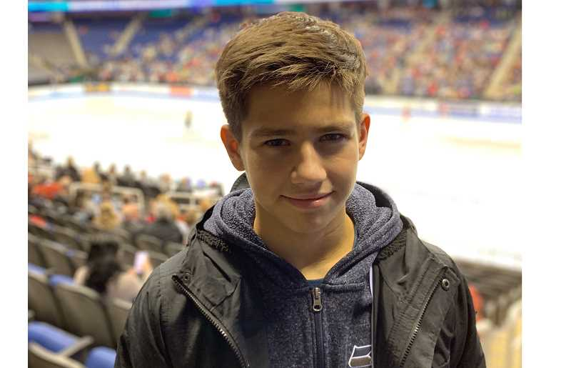 COURTESY PHOTO - Sam Mindra is pictured in the stands during the U.S. Figure Skating Championships last week in Greensboro, North Carolina. He placed 10th in the junior men's competition.