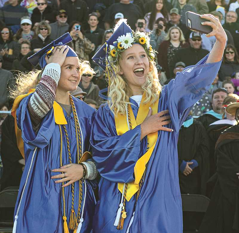 CENTRAL OREGONIAN - 2019 Crook County High School graduates Ashlyn Hacker, left, and Daisy Forseth were part of a class that enjoyed a 94.74% graduation rate. The school has taken a sharp focus on improving graduation rates, and those varied efforts have seen positive results.