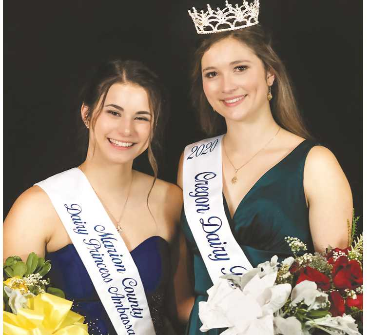 SUBMITTED PHOTO - Taysha Veeman (left) finished as the 2020 alternate Oregon Dairy Princess after  Jaime Evers was crowned as 2020 Oregon Dairy Princess Ambassador at a ceremony in mid-January at the Salem Convention Center.