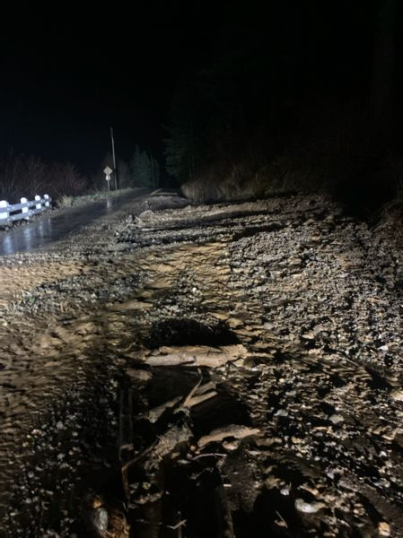 COURTESY PHOTO: ODOT  - Mud, rocks and debris from the hillside between Angel's Rest Trailhead and Multnomah Falls prompted ODOT to close the stretch of highway until further notice.