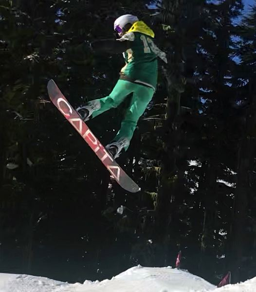 COURTESY PHOTO - West Linn's Ava Paul catches air on her way to victory in the Three RIvers League snowboard competition at Mt. Hood Meadows on Saturday, Jan. 25.
