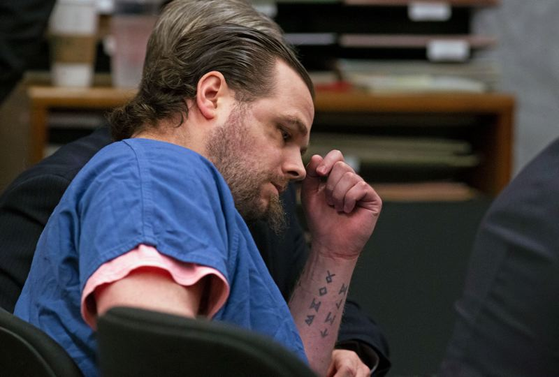 POOL PHOTO: BETH NAKAMURA, THE OREGONIAN/OREGONLIVE - The trial has begun for Jeremy Christian, accused of killing two men and wounding another on a TriMet MAX train in 2017.