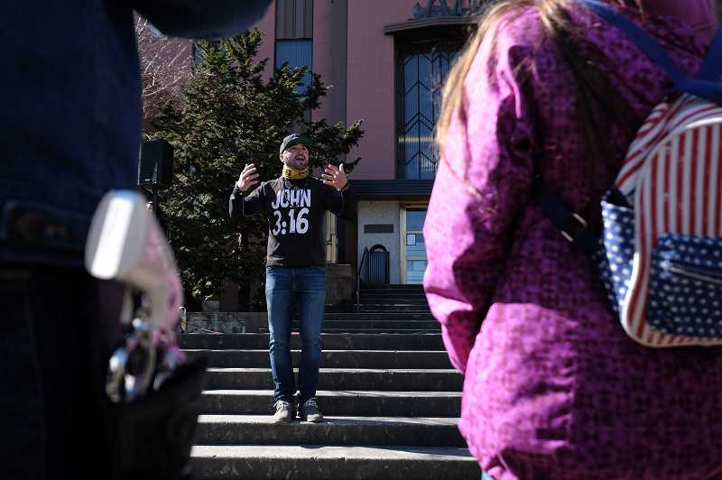 COURTESY PHOTO: ALEX MILAN TRACY - On March 22, 2019, Joey Gibson led a rally on the Clark County Courthouse steps to protest the arrest of Billy Wilson, who on Sept. 11, 2017, drove his pickup truck, adorned with an American flag and a Confederate flag bumper sticker, through a group of counter-protesters in Vancouver.