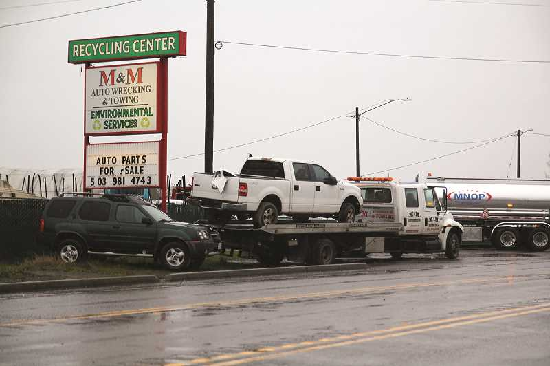 PMG PHOTO: PHIL HAWKINS - M&M Auto Wrecking on Pacific Highway 99E in Woodburn.