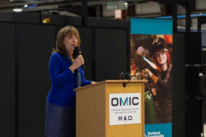 PMG PHOTO: ANNA DEL SAVIO - Portland Community College Executive Vice President Sylvia Kelley speaks to a crowd at the groundbreaking event for PCCs OMIC Training Center in Scappoose.