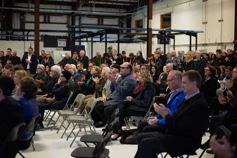 PMG PHOTO: ANNA DEL SAVIO - More than 100 people gather for the groundbreaking of Portland Community Colleges manufacturing training center, including elected officials, PCC leadership, and leaders from manufacturing.