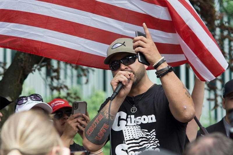 PMG FILE PHOTO - Patriot Prayer leader Joey Gibson's rallies have sparked violence in Portland, but Gibson has stayed away from recent Portland protests after being hit with several lawsuits.
