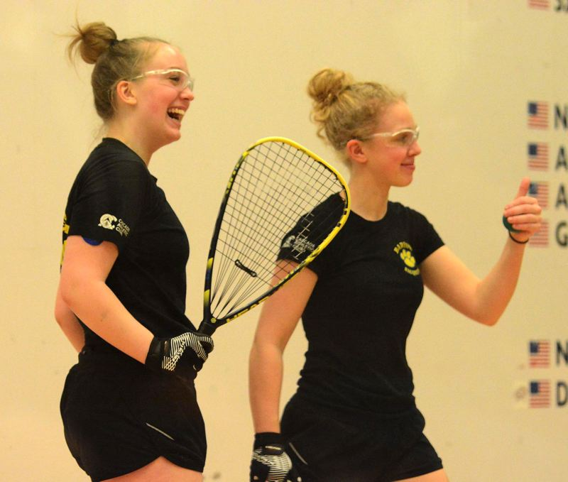 PMG PHOTO: DAVID BALL - Barlows Annie Roberts (right) and Kelsey Klinger won a repeat doubles title at last weekends state racquetball championships in Salem.