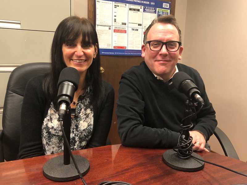 GABBY URENDA - Kristin Bair (left) and Kevin Hammond (right) both wrote the musical comedy 'Up and Away.' Hammond wrote the book and lyrics and Bair wrote the music. The musical will be shown at Broadway Rose Theatre in Tigard.