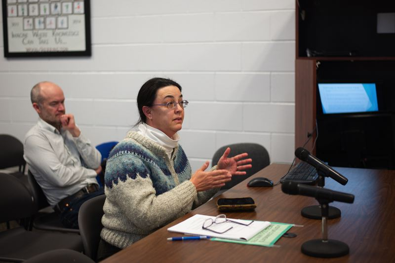 PMG PHOTO: ANNA DEL SAVIO - Jane Turville of Ecumenical Ministries of Oregon speaks to Columbia County Commissioners at a Jan. 22 meeting.