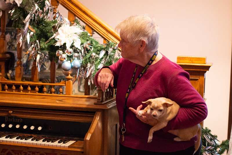 PMG FILE PHOTO - Scappoose Historical Society President Karen Holmberg with her chihuahua, Safara, at the Watts House in Scappoose in November. Holmberg said Safaras barking alerted her to the fire in her Rainier house last week, though the dog was unable to escape with her and died in the blaze.