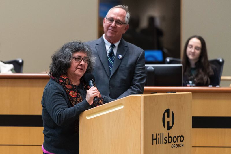 PMG PHOTO: CHRISTOPHER OERTELL - Hillsboro City Councilor Olivia Alcaire speaks about the 2020 U.S. Census during the annual State of the City address at the Hillsboro Civic Center on Thursday, Jan. 30.