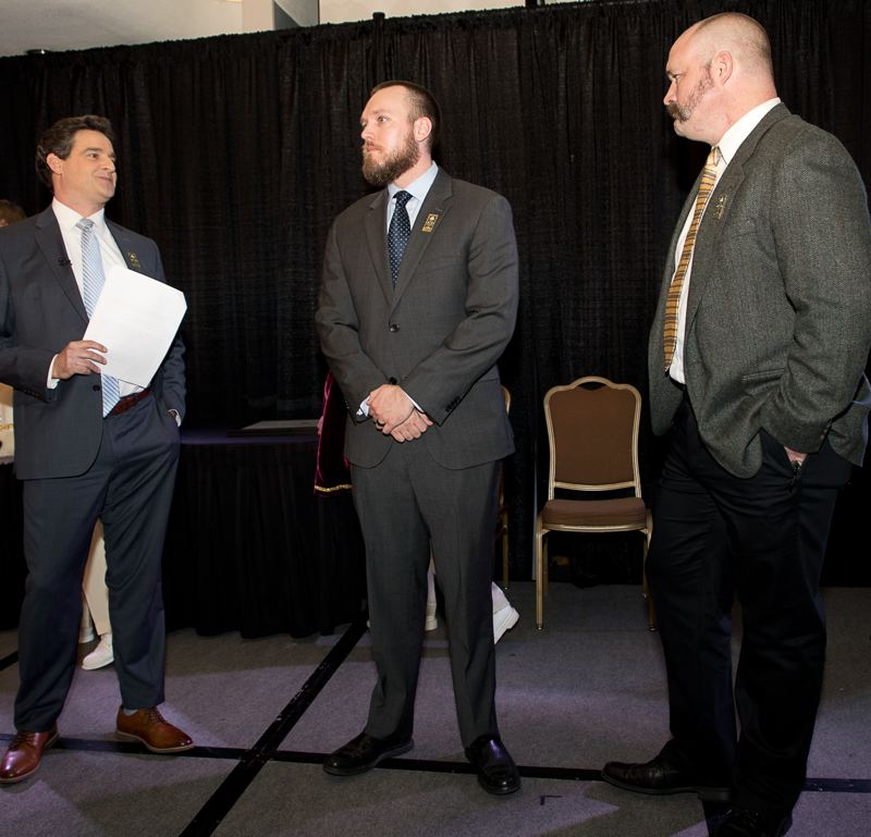 COURTESY PHOTO: BILL BARRY/ROYAL ROSARIANS - From left, KOIN 6 News anchor Dan Tilkin, Washington County Sheriff's Deputy Christopher Iverson and Washington County Cpl. Jeremy Braun dressed sharp for the Royal Rosarians' award ceremony in Portland.