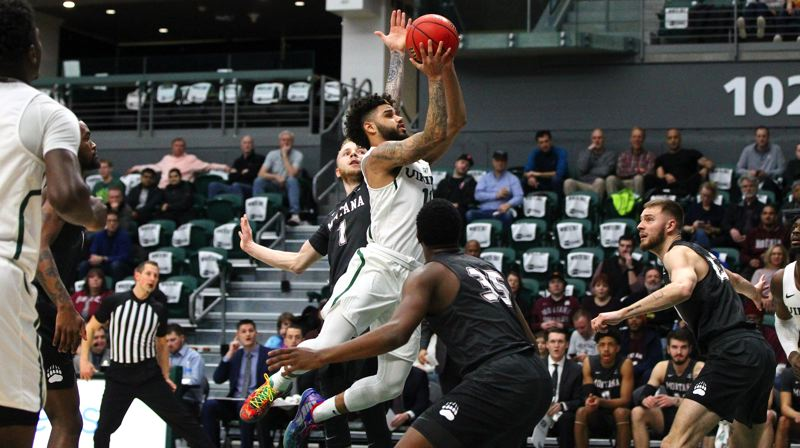 COURTESY PHOTO: SCOTT LARSON - Holland 'Boo Boo' Woods, Portland State guard, torches Montana for 39 points as the Vikings win at Viking Pavilion.