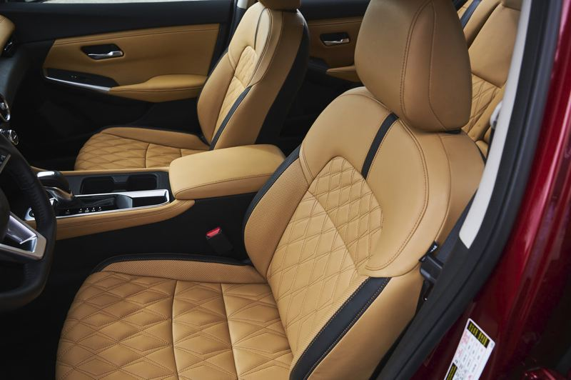 COURTESY NISSAN - The front bucket seats in the 2020 Nissan Sentra are comfortable enough for long drives.